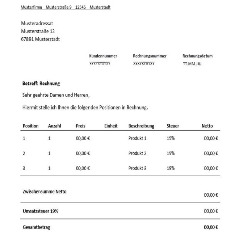 Rechnung für Freiberufler - Vorlage & Muster